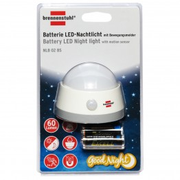 Battery LED Night Light NLB 02 BS with PIR sensor and push switch