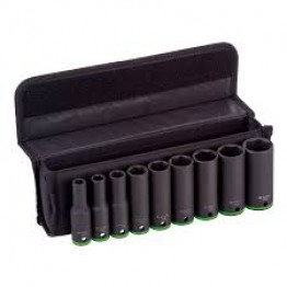 Set of 9 Impact Deep Socket 1/2'' Drive 77mm