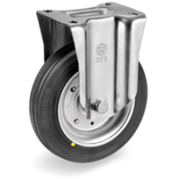 200mm Standard Rubber Wheels, pressed steel discs, swivel top plate bracket type NL,535706