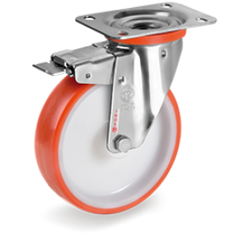 100mm Injection Polyurethane Wheels, Polyamide 6 Centre, Swivel Top Plate Bracket type NLX 606702