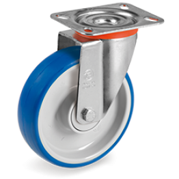 125mm Impact Polyurethane Wheels, Polyamide 6  Centre, Swivel Top Plate Bracket type NL 614703
