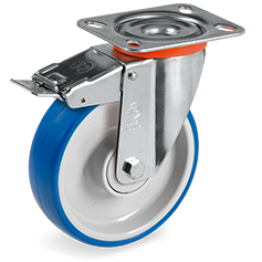 125mm Impact Polyurethane Wheels, Polyamide 6  Centre, Swivel Top Plate Bracket type NL 614903