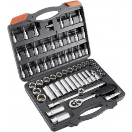 3/8'' Socket wrench set HR High Resistance with 61 pieces in plastic case