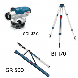 Optical Level GOL 32D/G + Building Tripod BT 170 + Measuring Rod GR 500 Professional