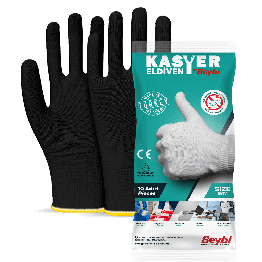 Beybi Kasyer Non coated Seamless Polyester Hygiene Glove 13G Black Size 10, 5 Pairs(Packed)