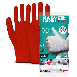 Beybi Kasyer Non coated Seamless Polyester Hygiene Glove 13G red Size 10, 5 Pairs (Packed)