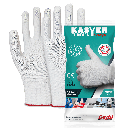 Beybi Kasyer Non coated Seamless Polyester Hygiene Glove 13G White Size 9, 5 pairs (Packed)