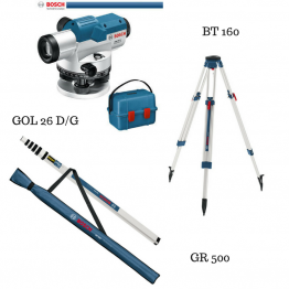 Optical Level GOL 26D/G + Building Tripod BT 160 + Measuring Rod GR 500 Professional