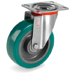 100mm TR-ROLL Polyurethane Wheels, Polyamid 6 centre, swivel top plate bracket type NLX 625122