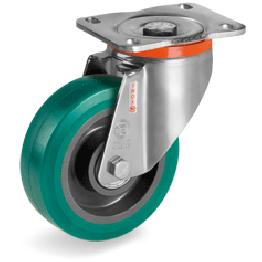 "160mm""TR Roll"" Polyurethane Wheels, Polyamide 6 centre, swivel bracket type PX 625434"