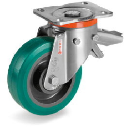 "200mm ""TR Roll"" Polyurethane Wheels, Polyamide 6 centre, Swivel Bracket PX with brake 625636"