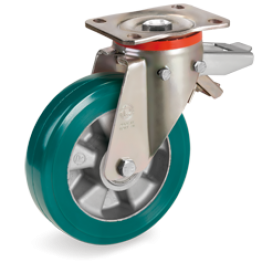 200mm TR-ROLL Polyurethane Wheels, Aluminium centre, swivel top plate bracket type P with rear brake 627206