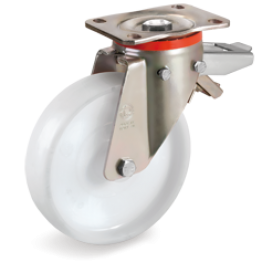 200mm Polyamide 6 Solid Wheels, Swivel top Plate bracket type P with adjustable brake 686906