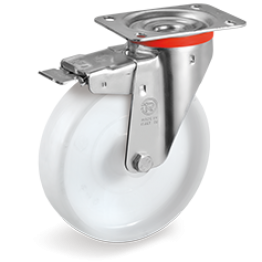 125mm Polyamide 6 Solid Wheels, Swivel top Plate Bracket type NL with front lock 686803