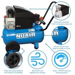 Nuair Air Compressor,  2 HP 24 Ltr