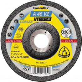 Kronenflex Grinding/cutting Wheel A 46 VZ Special, 125 x 22.23 x 2 mm, depressed, for INOX