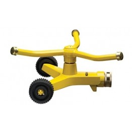 3-Arm Whirling Impulse Sprinkler with Heavy-Duty Metal Wheeled Base, Yellow