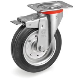 125mm Standard Rubber Wheels, pressed steel discs, swivel top plate bracket type NL, 535403