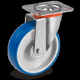 125mm Impact Polyurethane Wheels, Polyamide 6  Centre, Swivel Top Plate Bracket type NL 614703