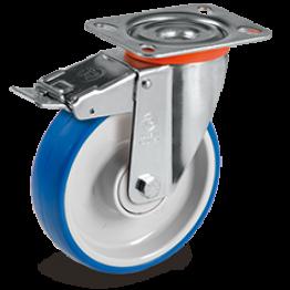 125mm Impact Polyurethane Wheels, Polyamide 6  Centre, Swivel Top Plate Bracket type NL 614903