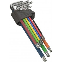 Set of 9 extra-long Tamper-Proof Torx diamond Allen keys, T10- T50mm, 193148