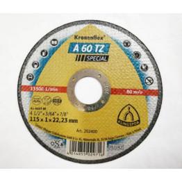 Kronenflex® cutting-off wheels for Stainless steel, Steel A 60 TZ, 115 x 22.23 x 1 mm, flat for INOX  1 PC - KL202400