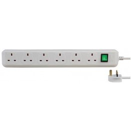 Eco Line Extension Socket 6 Way White 1.5m 05VV-F 3G1.25 GB 1159523