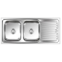 Kitchen Sink Double Bowl Single Tray