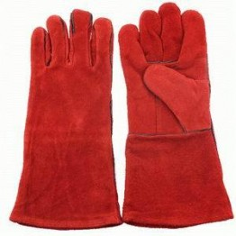 Red Color Leather Welding Gloves