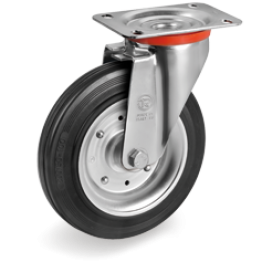 200mm Standard Rubber Wheels, pressed steel discs, swivel top plate bracket type NL,535006