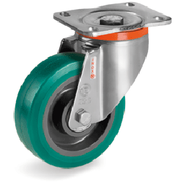 "200mm ""TR Roll"" Polyurethane Wheels, Polyamide 6 centre, swivel bracket type PX 625436"