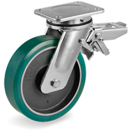 200mm TR-Roll Polyurethane Wheels, cast Iron centre, swivel top plate bracket EE MHD, rear adjustable brake 628616