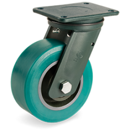 250mm TR-Roll Polyurethane Wheels, cast Iron centre, swivel top plate bracket EE HD 628708