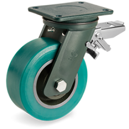 250mm TR-Roll Polyurethane Wheels, cast Iron centre, swivel top plate bracket EE HD, rear adjustable brake 628908