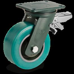 300mm TR-Roll Polyurethane Wheels, cast Iron centre, swivel top plate bracket EE HD, rear adjustable brake 628918