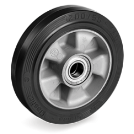 125mm Sigma Elastic Rubber Wheels, Aluminium centre 721203