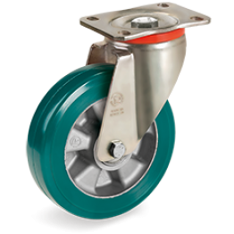 250mm TR-ROLL Polyurethane Wheels, Aluminium centre, swivel top plate bracket type P 627608