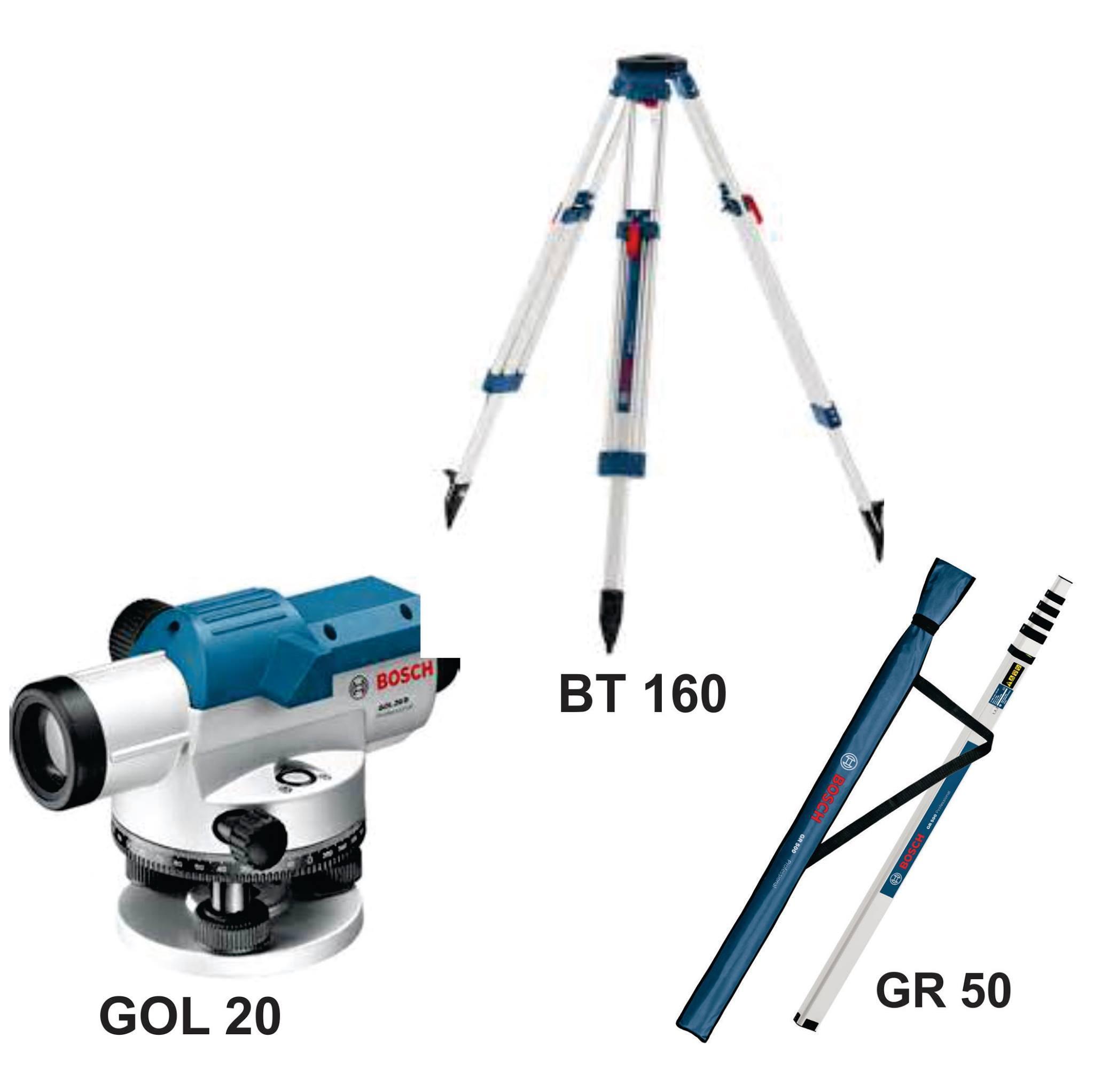 Optical Level GOL 20 D/G + Building Tripod BT 160 + Measuring Rod GR 500 Professional